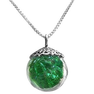 Handmade Reclaimed Vintage 1960's Emerald Green Beer Bottle and Sterling Silver Orb Necklace