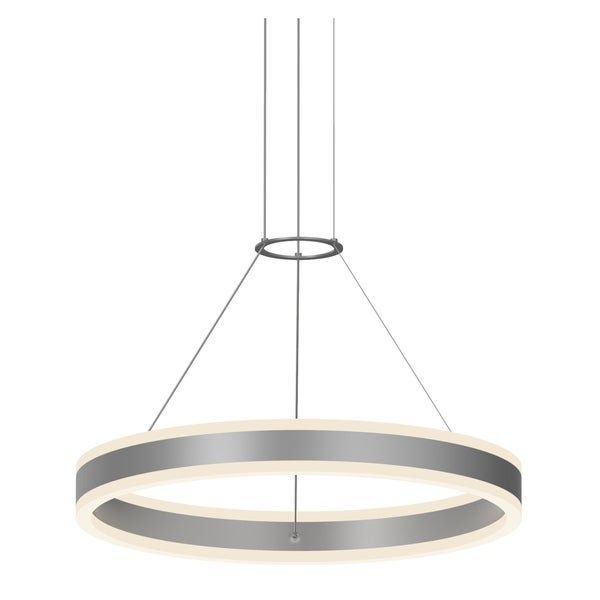 Sonneman Lighting Double Corona Bright Satin Aluminum 24-inch LED Ring Pendant, Frosted White Shade