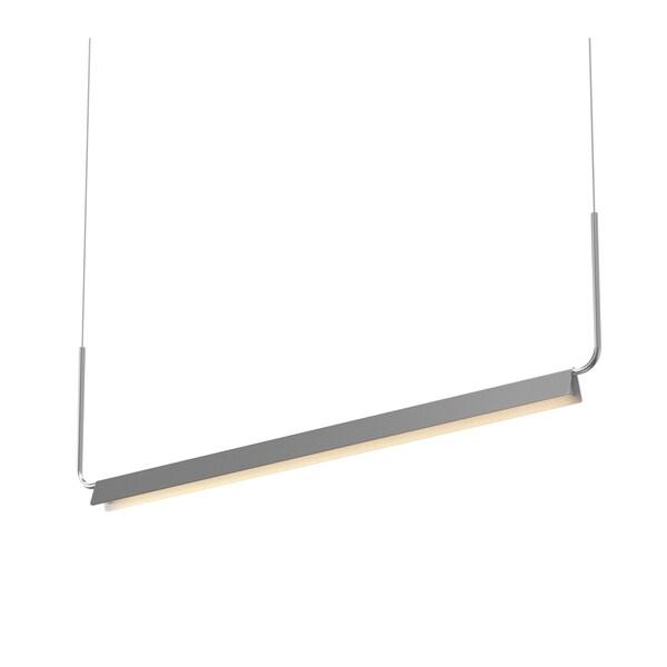 Sonneman Lighting Morii Bright Satin Aluminum 48-inch LED Pendant, Satin Nickel Shade
