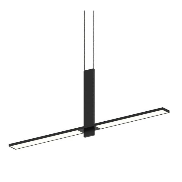 Sonneman Lighting Planes 2-light Satin Black LED Intersecting Pendant, White Shade