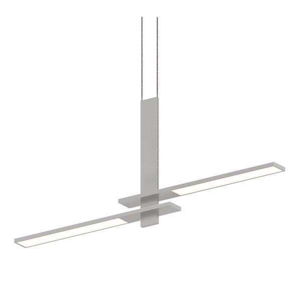 Sonneman Lighting Planes 2-light Bright Satin Aluminum LED Cantilevered Pendant, White Shade