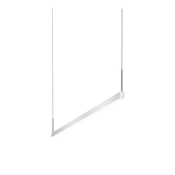 Sonneman Lighting Thin-Line Bright Satin Aluminum 48-inch LED One Sided Pendant, White Shade