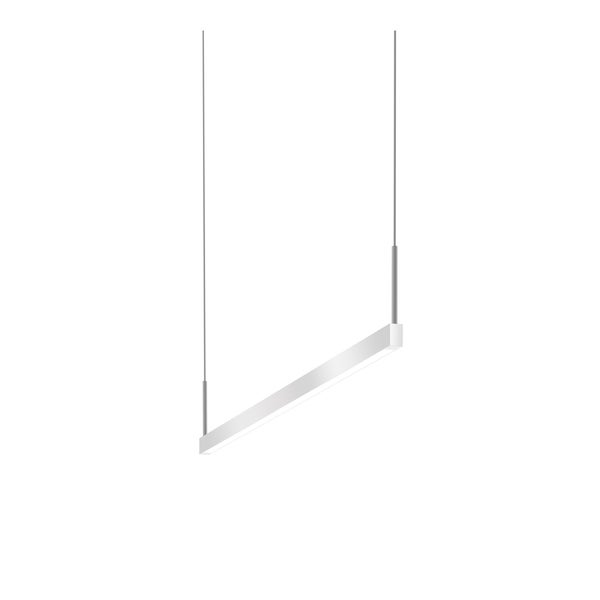 Sonneman Lighting Thin-Line Bright Satin Aluminum 36-inch LED One Sided Pendant, White Shade