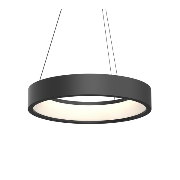 Sonneman Lighting Tromme Satin Black 24-inch Short LED Pendant, Satin Black Shade
