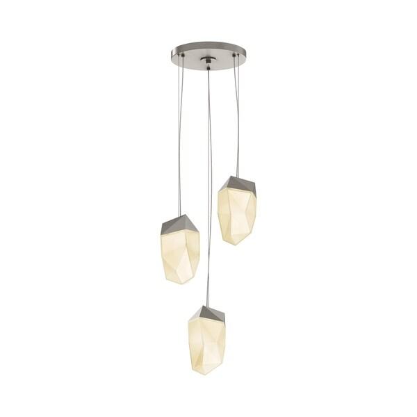 Sonneman Lighting Facets 3-light Satin Nickel Medium LED Round Pendant, White Shade