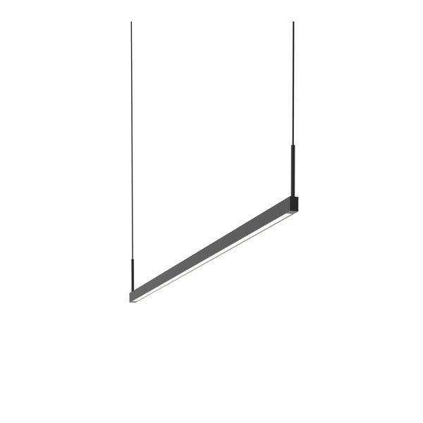 Sonneman Lighting Thin-Line Satin Black 48-inch LED One Sided Pendant, White Shade
