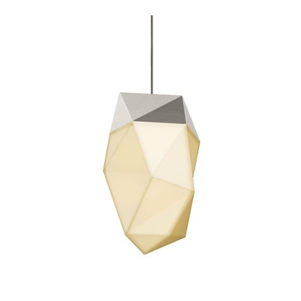 Sonneman Lighting Facets 1-light Satin Nickel Medium LED Pendant, White Shade
