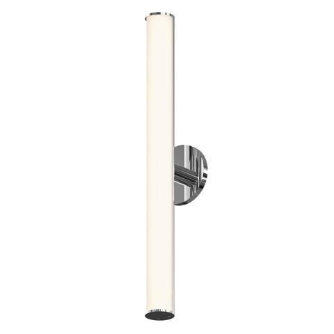 Bauhaus Columns ADA Polished Chrome 24-inch LED Bath Bar, White Etched Glass Shade