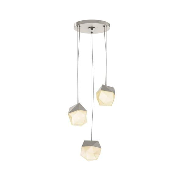 Sonneman Lighting Facets 3-light Satin Nickel Small LED Round Pendant, White Shade