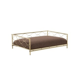 "Sarina 29"" Gold Pet Bed with Cushion"