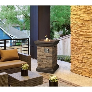 Kava Outdoor 19-inch Column Propane Fire Pit with Lava Rocks