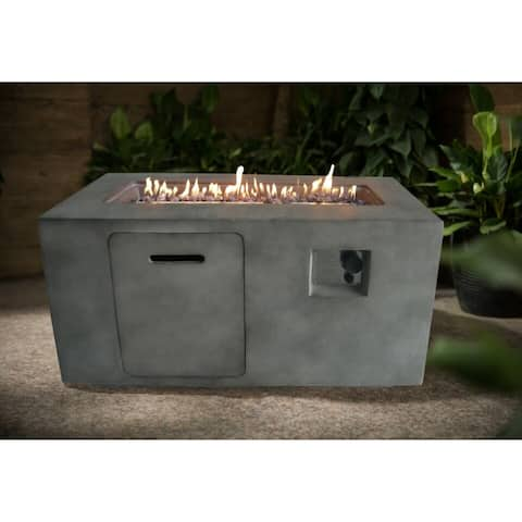 Vista Gray Rectangular Propane Fire Pit with Lava Rocks