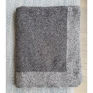 PLFBTCV01 - Chevron Cotton Throw Blanket - Black/Grey