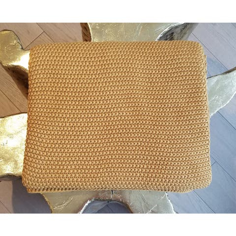 Varna Cotton Mustard Throw Blanket