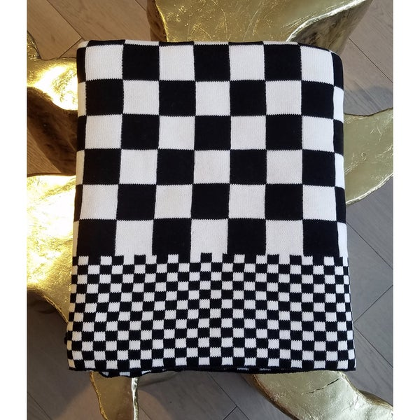 Sveda Checkered Cotton Throw - Black/White