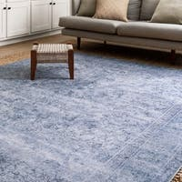 Traditional Distressed Slate/ Blue Printed Rug - 8'4 x 11'6