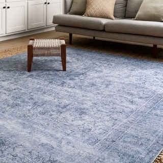 "Traditional Distressed Slate/ Blue Printed Rug (8'4 x 11'6) - 8'4"" x 11'6"""
