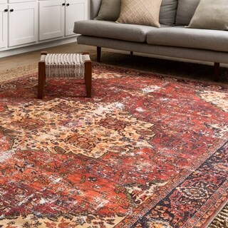 Traditional Distressed Red/ Navy Medallion Printed Rug (8'4 x 11'6)