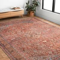 """Traditional Distressed Red/ Multi Printed Rug (8'4 x 11'6) - 8'4"""" x 11'6"""""""