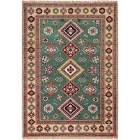 eCarpetGallery  Hand-knotted Royal Kazak Teal Wool Rug (4'8 x 6'7)