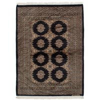 eCarpetGallery  Hand-knotted Finest Peshawar Bokhara Black Wool Rug (4'3 x 5'9)