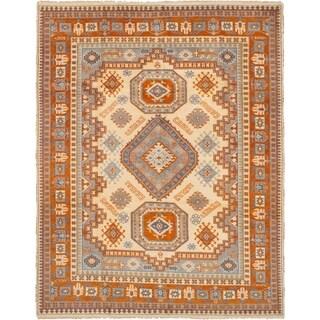 eCarpetGallery Hand-knotted Royal Kazak Cream, Dark Copper Wool Rug (8'1 x 10'2)
