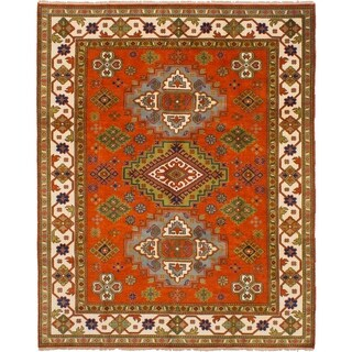 eCarpetGallery Hand-knotted Royal Kazak Dark Copper Wool Rug (8'0 x 10'0)