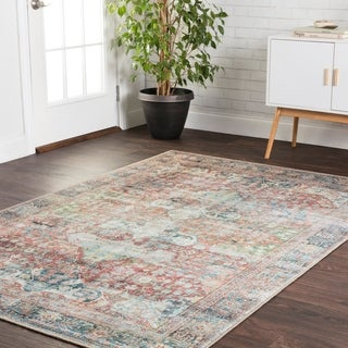 Traditional Distressed Red/ Blue Printed Rug - 7'6 x 9'6