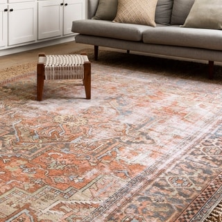 """Alexander Home Traditional Distressed Rust/ Blue Medallion Printed Area Rug - 7'6"""" x 9'6"""""""