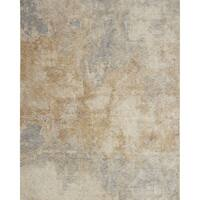 Distressed Abstract Beige/ Grey Mosaic Rug - 7'10 x 10'