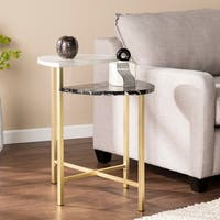 Holly & Martin Bickly End Table - Gold w/ Black and White Faux Marble