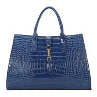 Diophy Solid Animal Print Pattern Large Structured Tote Bag - L
