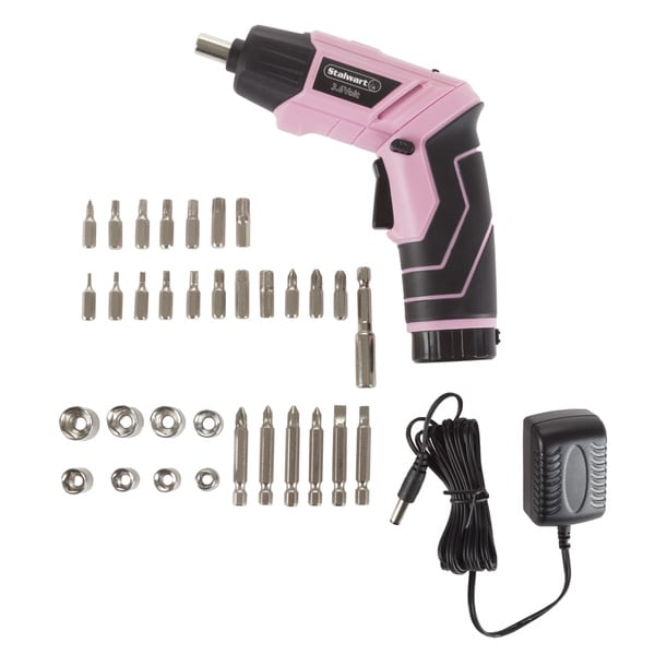Flashlight and Case for Home Repair Projects Great Working Tools Cordless Screwdriver Set Pivoting Head Pink 45-Piece Power Screwdriver with 3.6v Lithium-Ion Battery