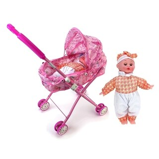 My Cute Precious Sleepy Newborn Baby Toy Doll w/ Folding Stroller