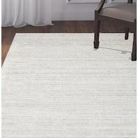 Luxe Handmade Soild Wool Viscose Ivory Rug - 5' x 8'