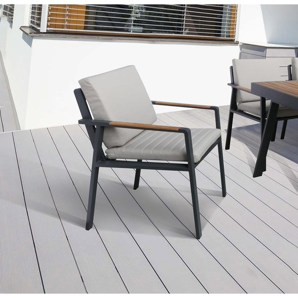 Armen Living Nofi Outdoor Patio Dining Chair In Gray Finish With Taupe  Cushions And Teak Wood