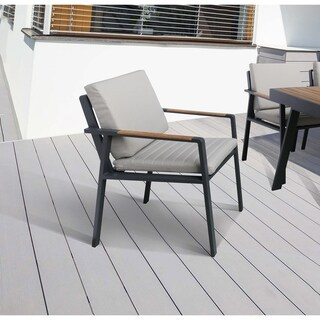 Armen Living NofiOutdoor PatioDining Chair in Gray Finish with Taupe Cushions andTeak Wood Accent Arms - Set of 2