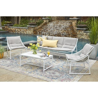 Handy Living Nico 4 Piece Indoor/Outdoor Sling Conversation Set in White Woven Resin Rattan with Gray Fabric Cushions