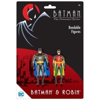 """NJ Croce DC Comics Batman The Animated Series Batman & Robin Action Figure 3"""" Bendable Pair"""