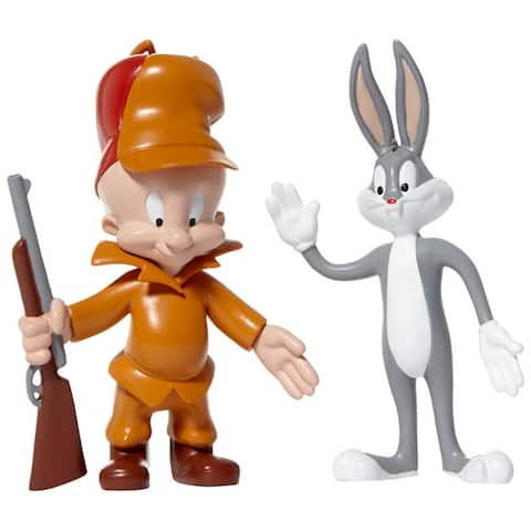 NJ Croce Looney Tunes Bugs Bunny & Elmer Fudd Bendable Action Figure 2-Pack