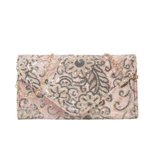 Diophy Archaized Sequins Embroidered Clutch - S (Option: Pink)