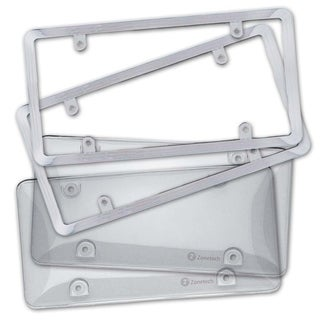 Zone Tech Clear License Plate Shield Cover Frame Combo - Clear Bubble Shield and Chrome Frame Bracket