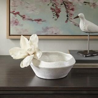 Madison Park Shae White Ceramic Bowl