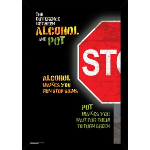 Shop Alcohol Vs Pot Poster With Choice of Frame (24x34) - Free ...