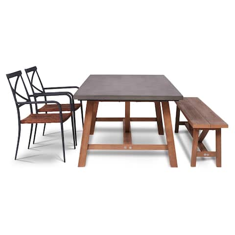 Amalfi 4 Piece Outdoor Dining Set with Cement Tabletop
