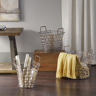 Madison Park Havana Gold Basket Set of 3