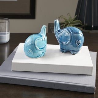 Madison Park Aqua Elephant Shaped Ceramic Vase Set Of 2