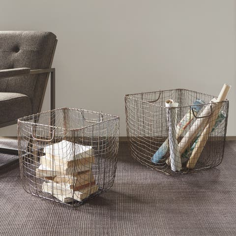 Madison Park Moraga Black Basket Set of 2