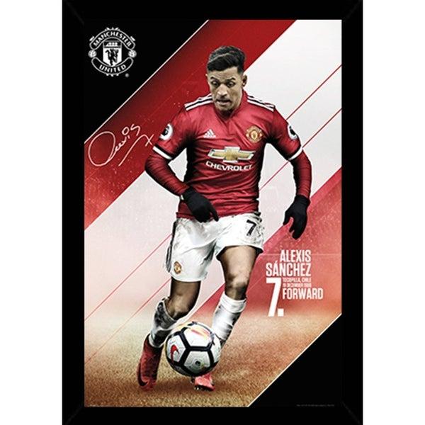 Shop Man UTD Sanchez 17/18 Poster With Choice of Frame (24x34 ...