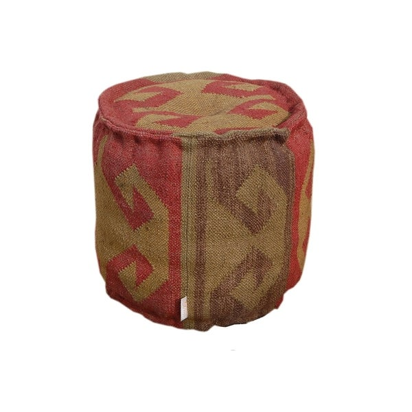 Shop Round Embroidered Upholstered Pouf Ottoman Footstool